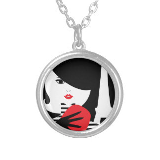 Fashion french stylish fashion illustration silver plated necklace