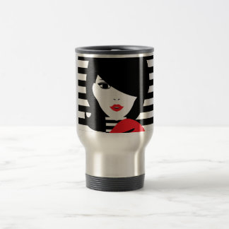 Fashion french stylish fashion illustration travel mug
