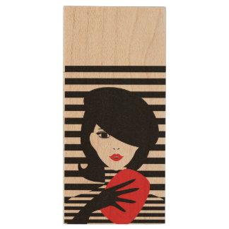 Fashion french stylish fashion illustration wood USB flash drive