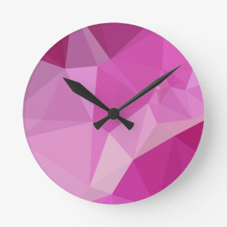 Fashion Fuchsia Pink Abstract Low Polygon Backgrou Round Clock