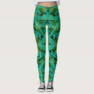 Fashion Fun Leggings-Turquoise/Green/Orange/Black Leggings