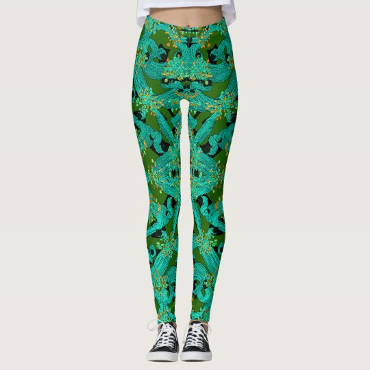 Fashion Fun Leggings-Turquoise/Green/Orange/Black Leggings