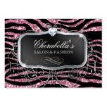 Fashion Gift Card Salon Zebra Glitter Black Pink