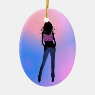 Fashion Girl in Blue Jeans Standard Oval Ornament