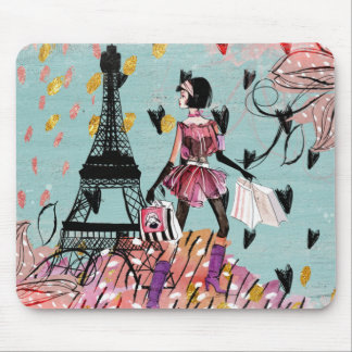 Fashion Girl in Paris Mouse Pad