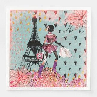 Fashion Girl in Paris Paper Dinner Napkin