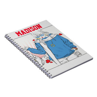 Fashion Girl in Sweatshirt with Bag Spiral Notebooks