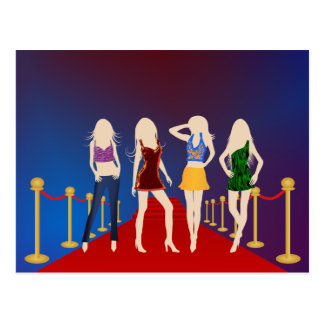 Fashion Girls on the Red Carpet Postcard