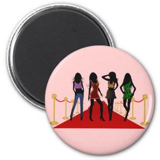 Fashion Girls Posing Models on Red Carpet Magnets