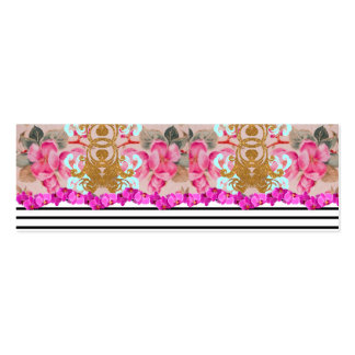 Fashion Girly Pink Floral Trendy Stripes Pattern Mini Business Card