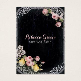 fashion girly vintage flowers chalkboard business card