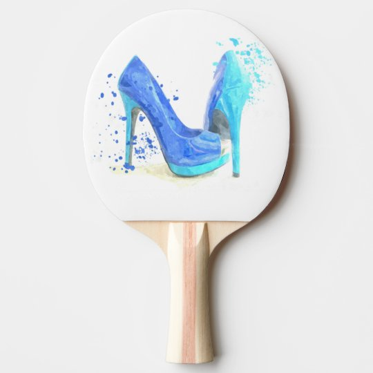 Fashion glamour trendy girly style blue shoes ping pong paddle