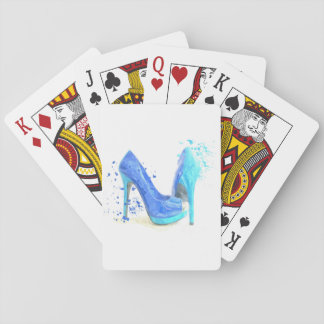 Fashion glamour trendy mode girly blue shoes poker deck