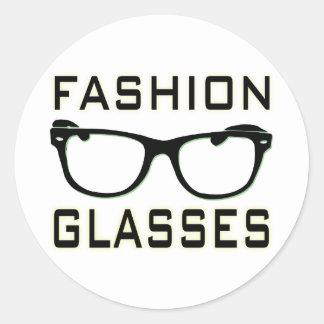 Fashion Glasses Round Stickers