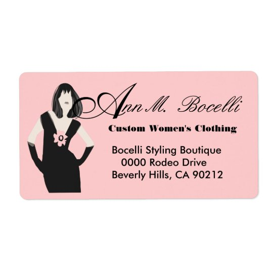 Fashion Goddess Black Dress Shipping Label
