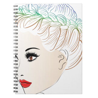 Fashion Hairstyles Lineart 2 Spiral Note Books