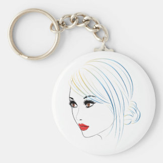 Fashion Hairstyles Lineart 5 Basic Round Button Keychain