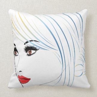 Fashion Hairstyles Lineart 5 Throw Pillow