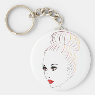Fashion Hairstyles Lineart 6 Basic Round Button Keychain