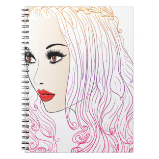 Fashion Hairstyles Lineart Spiral Note Book