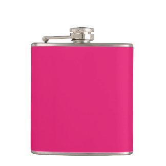 Fashion Hot Pink Personalized Color Background Hip Flask