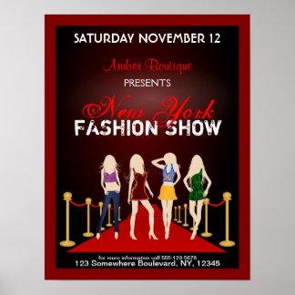 Fashion House Designer Fashion Show Red Poster