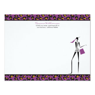 Fashion Icon Custom Flat Note Cards (purple)