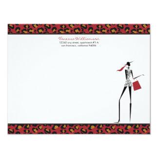 "Fashion Icon Custom Flat Note Cards (red) 4.25"" X 5.5"" Invitation Card"