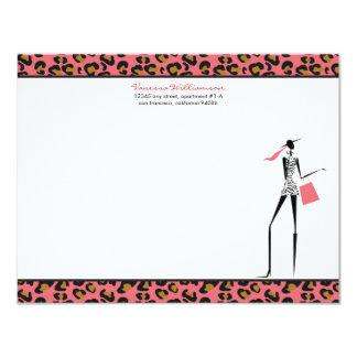 "Fashion Icon Custom Flat Note Cards (rose) 4.25"" X 5.5"" Invitation Card"