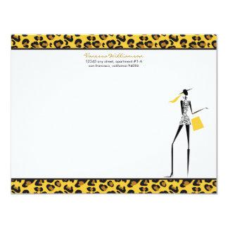 "Fashion Icon Custom Flat Note Cards (yellow) 4.25"" X 5.5"" Invitation Card"