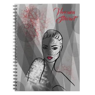Fashion Illustration Beautiful Face Abstract Art Notebooks