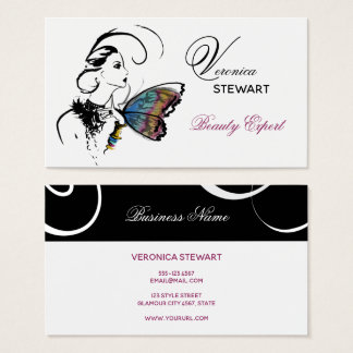 Fashion Illustration Beauty Business Butterfly Business Card