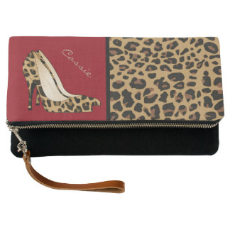 Fashion Jaguar Print Stilettos Fold Over Clutch
