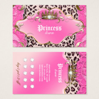 Fashion Jewellery Loyalty Card Leopard Lace Pink
