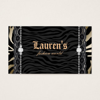 Fashion Jewelry Lace Zebra Leopard Modern Gold Business Card