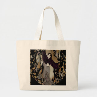 Fashion Lady Dancer on Purple, Gold, Grey, Black Large Tote Bag