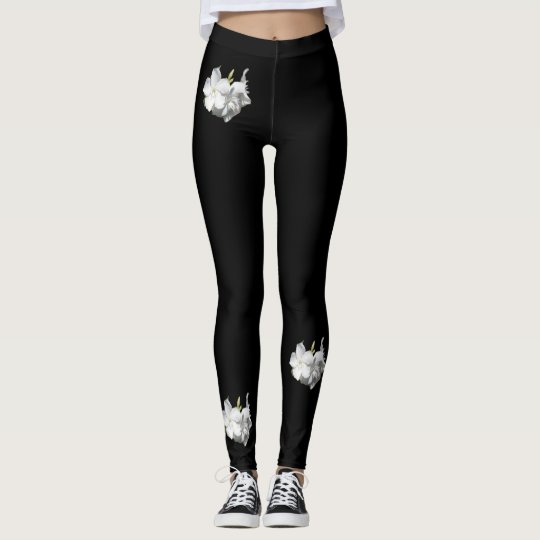 Fashion Leggings-Women-White Flowers/Black Leggings