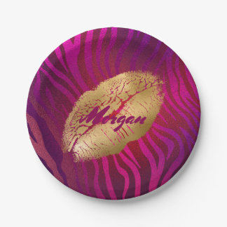 Fashion Lips Fuchsia Animal Print Paper Plate