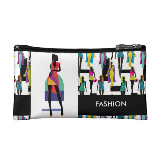 Fashion modern stylish trendy illustration pattern makeup bag