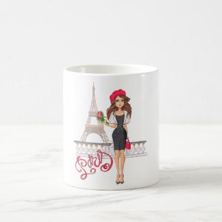 Fashion Paris Girl Hand Painted Coffee Mug