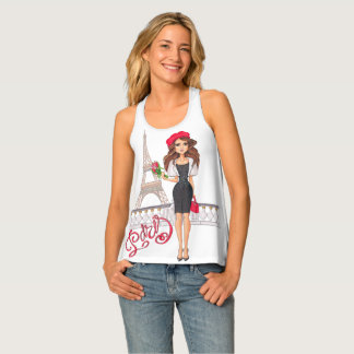 Fashion Paris Girl Hand Painted Tank Top