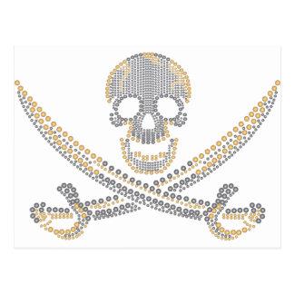 fashion pirate skull gold  diamond and pearls postcard