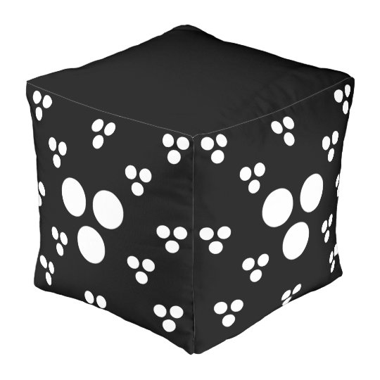 Fashion Polka Dot Pouf 4 Home-White Dots on Black