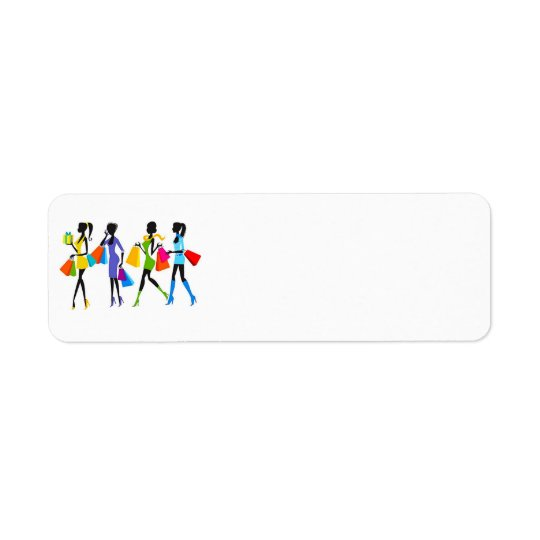 Fashion Shopping Girls Illustration Return Address Label