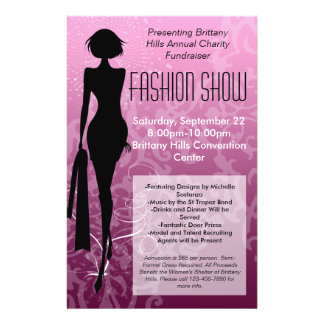 Fashion Show Flyer, Pink Silhouette Swirl Full Colour Flyer