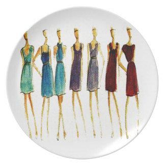 Fashion sketch dinner plates