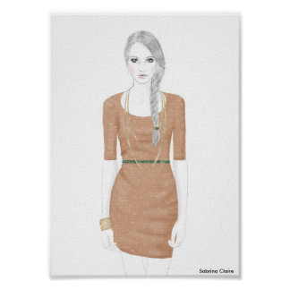 Fashion Sketch - Sweater Dress Poster