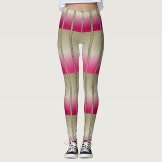 Fashion Sporty Girls Leggings Pink Sand Stripes