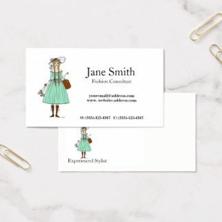 Fashion Stylist Consultant Girly Tailoring Trends Business Card