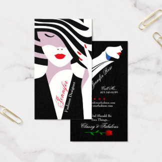 Fashion Stylist Lady With Stripped Hat Business Card